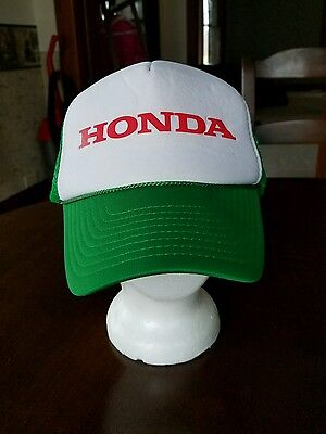 Vtg. Honda Trucker Snapback Cap Hat Foam Mesh Green White Automobile Adjustable