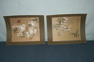 Lot 2 VINTAGE JAPANESE WATER COLOR PAINTING ON SILK - Unframed - SIGNED w/chop