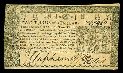 April 10, 1774 Maryland Two Thirds Of A Dollar Colonial Currency -Md 65