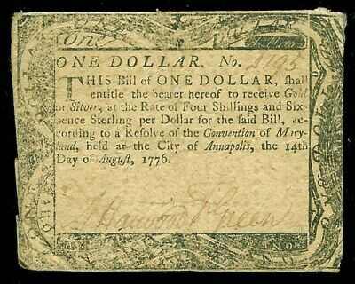 August 14, 1776 Maryland One Dollar Colonial Currency -Md 96