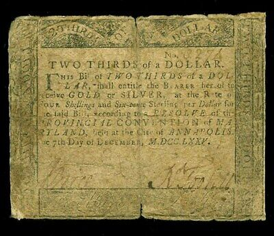 December 7, 1775 Maryland Two Thirds Of A Dollar Colonial Currency Md-83