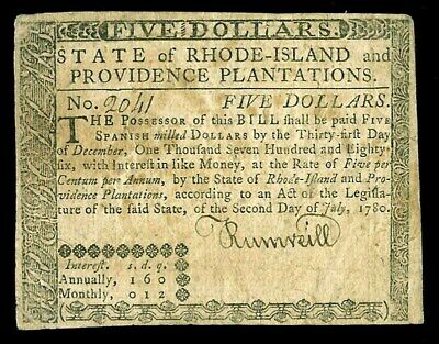 July 2, 1780 Rhode Island Five Dollars Colonial Currency Ri - 286