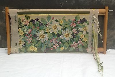 Ehrman tapestry needlepoint Woodland Spring by Margaret Murton on tapestry frame