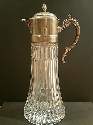 """Vintage 13-1/2"""" Pattern Glass Silver-plated Lid Water Claret Pitcher w/Insert"""