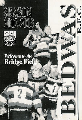Bedwas v Newport - Welsh Cup - 7th round Feb 2003 RUGBY PROGRAMME