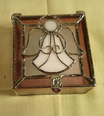 Gallery Inc Stained Glass Small Square PurpleTrinket Box White Angel on Top