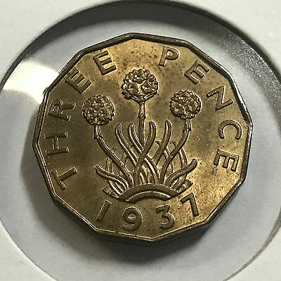 Great Britain 1937 Three Pence Uncirculated Coin