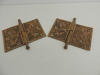 Oversized Antique Victorian Brass Hinges Pair - Steeple Tip