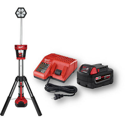 Milwaukee 2130-20P M18 LED Tower Light with 5.0Ah Starter Kit Pack-In