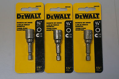 (3 Pack) DeWALT DW2220 3/8 in. x 1-7/8 in. Steel Magnetic Nut Driver