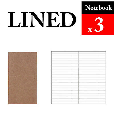 3 x Notebook Lined Refills Vintage Travel Journal Notebook Paper Diary