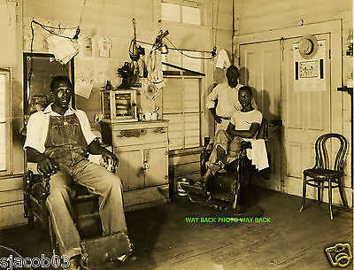 """Early 20th Century Reprint Photo Of Mississippi Barbershop - Rare,  8"""" by 10"""""""