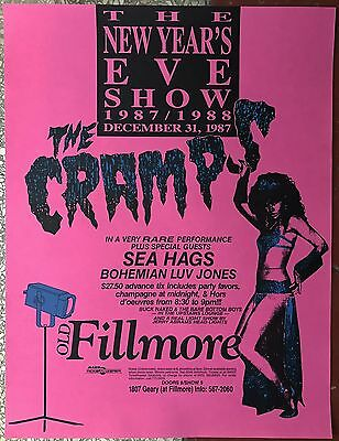 Nice Vintage Mint Original New Years Eve 1987 The Cramps Fillmore Concert Poster
