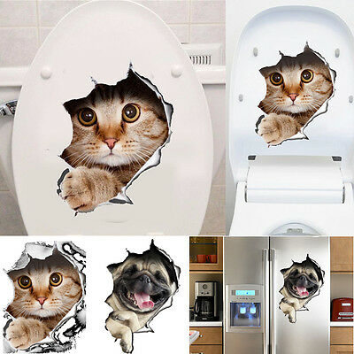 Removable DIY 3D Cat Bathroom Toilet Wall Stickers Decals Vinyl Mural Home Decor