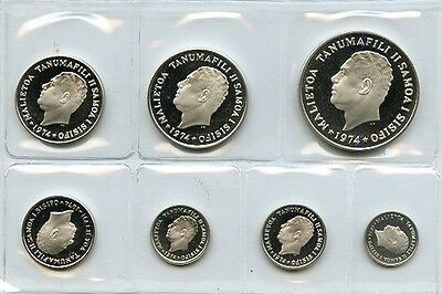 Western Samoa 1974 Sterling Silver Proof Coins Set In Issued Box.