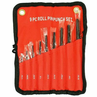 9 PC Forged Steel Roll Pin Pilot Punch Set Tools with Case Rifle Gunsmithing