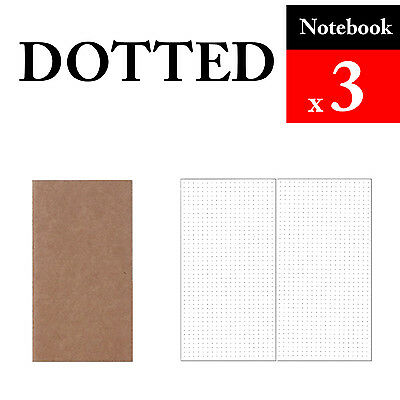 3 x Notebook Dotted Refills Vintage Travel Journal Notebook Paper Diary
