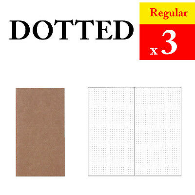 3 x Regular Dotted Refills Vintage Travel Journal Notebook Paper Diary