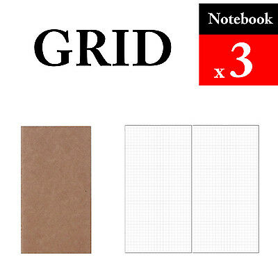 3 x Notebook Grid Refills Vintage Travel Journal Notebook Paper Diary