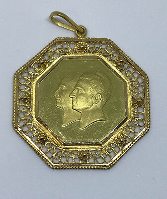 1976 IRAN OCTAGON MEDAL PAHLAVI GOLD  COIN in 18K Pendant 19.6 g Total Weight