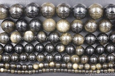 Natural Golden Obsidian Gemstone Round Beads 4mm 6mm 8mm 10mm 12mm 16mm 15.5""