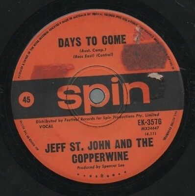 """JEFF ST. JOHN  AND THE COPPERWIRE   Rare 1970 Oz Only 7"""" OOP Single """"Cloud Nine"""""""