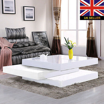 Stlyish Modern 3 Layers White High Gloss Lacquer MDF Rotatable Coffee Table New