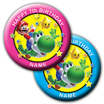 PERSONALISED MARIO YOSHI BIRTHDAY BADGES/FRIDGE MAGNET/MIRRORS - 58MM or 77MM