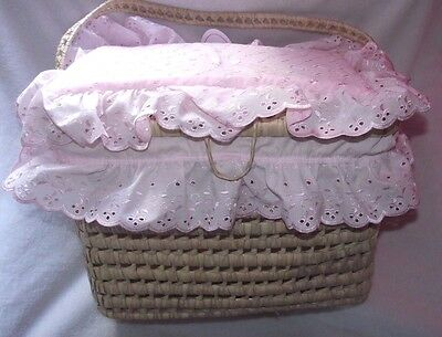 Traditional Romany Layette Basket Pink Broderie Anglaise Dressing by Kinder