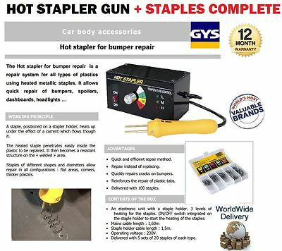 Gys Hot Stapler For Bumper Spoiler Dashboard Headlights Repair System + Staples
