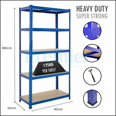 Metal 5 Tier Shelving Industrial Garage Warehouse Storage Boltless Racking Unit