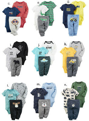 Carter's Baby Boy Bodysuit Pant 3pc Set Clothes Newborn 3 6 9 12 18 24 Month NEW