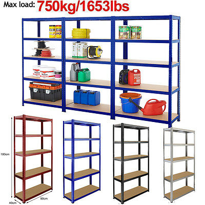 5 Tier  Garage Shelving Unit Metal Boltless Heavy Duty Storage Racking Rack 1.8M