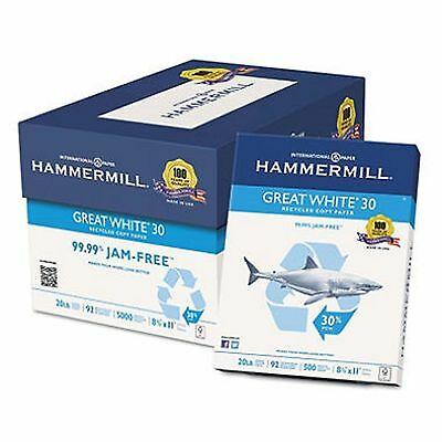 "Hammermill Great White 30% Recycled Copy Paper,20lb, 92 Bright, 8-1/2 x 11""Case"