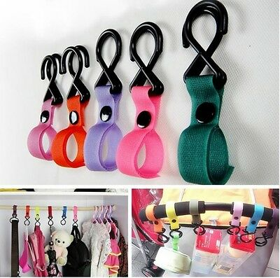 Pushchair Stroller Pram Buggy Shopping Bag Velcro Strap Clip Hook Hanger Camping