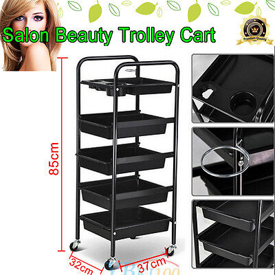 5 Drawers Salon Hairdresser Trolley Storage Hair Beauty Coloring Cart Free Post