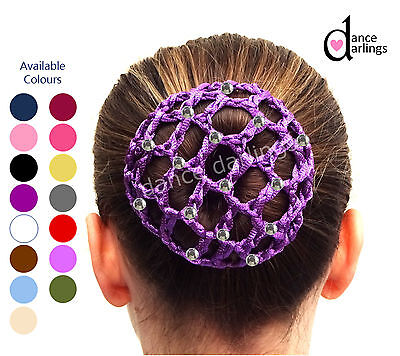 Girl's DIAMANTÉ Crochet Hair Bun Net Cover Ballet Dance Gymnastics Equestrian