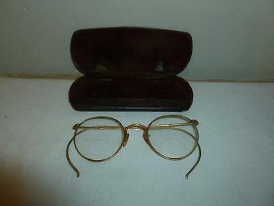 Vintage Wire Rim Frame Eyeglasses Spectacles 14K Gold Filled with Case-BL