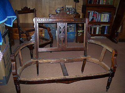 Antique Walnut Love seat and 4 chairs