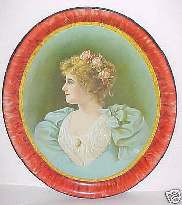 Victorian Advertising Portrait Tray Of Young Lady Circa 1890 -1900