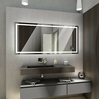 ATLANTA LED Illuminated Bathroom Mirror with Weather Station and Touch Switch