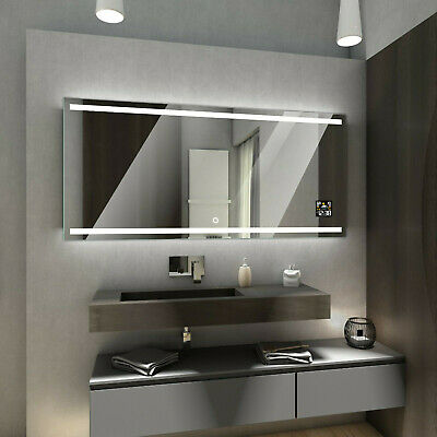 DENVER LED Illuminated Bathroom Mirror with Weather Station and Touch Switch