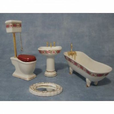 Dolls house furniture~miniature High Level BATHROOM SUITE ~pink 1:12 accessory