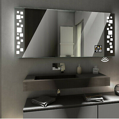DETROIT LED Illuminated Bathroom Mirror with WEATHER Station and SENSOR Switch