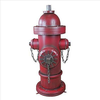 """41"""" Old School Vintage Style Firefighter Red Metal 3 Nozzle Fire Hydrant Statue"""
