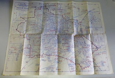 1944 Authentic Map from Official Records of Houston Texas TX F W Woolworth Co.