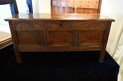 Late 17th / Early 18th Century Panelled Oak Coffer with Carved Frieze