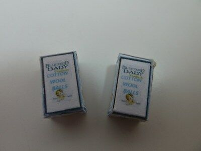 Dolls House Miniature 1:12th Scale Nursery Shop Accessory 2 x Cotton Wool Box