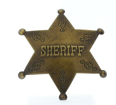 Embossed with Raised Lettering Sheriff Solid Brass Badge Pin