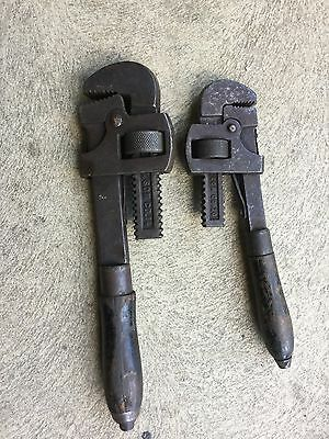 Vintage F E Wells & Son Pipe Wrenches No 10 & 14--Wood Handles